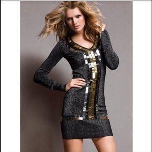 VS Metallic Sparkly Sequin Mini Sweater Dress